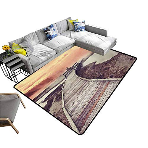 Geyser Diamond - Large Floor Mats for Living Room Colorful Yellowstone,Wooden Pathway Deck to Steamy Geyser in Yellowstone Park Tourist Attraction Picture,Orange 64
