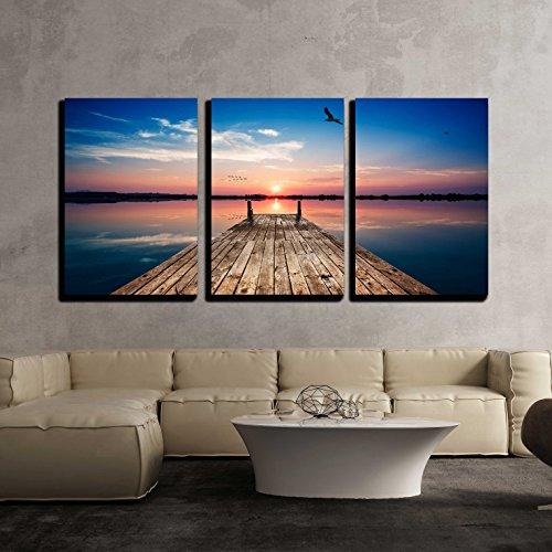 Sunset Dock - wall26 - 3 Piece Canvas Wall Art - Perspective View of a Wooden pier on The Pond at Sunset with Perfectly specular Reflection - Modern Home Decor Stretched and Framed Ready to Hang - 24