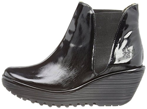 Fly London Yoss Negro Patent Cuero Mujeres Ankle Hi Wedge Botas