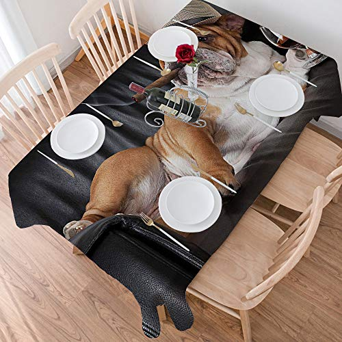 Estilo Simple Manteles 140x200 cm,Bulldog, foto humoristica de un perro caballero des,Pano Rectangular de Algodon y a Prueba de Polvo, Protector Decorativo de Mesa de Comedor de Mesa de Cocina o Salon