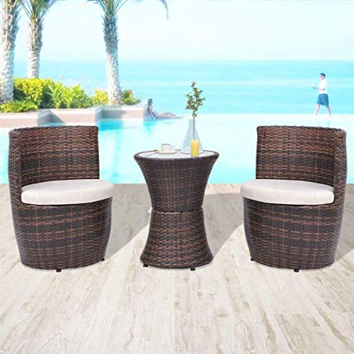 h4home Patio Furniture Ratan Bistro Set 1 Coffee Table 2 Chairs with Seat Cushions Conservatory Garden Outdoor Balcony PE Rattan Sun Room Furniture Set Modern Contemporary Brown