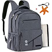Diaper Bag Backpack for Men Dad Mom Large Great Baby Shower Present Multi-function Waterproof Durable Insulated Travel Nappy Bags with Pockets Include Teething Necklace Dark Gray