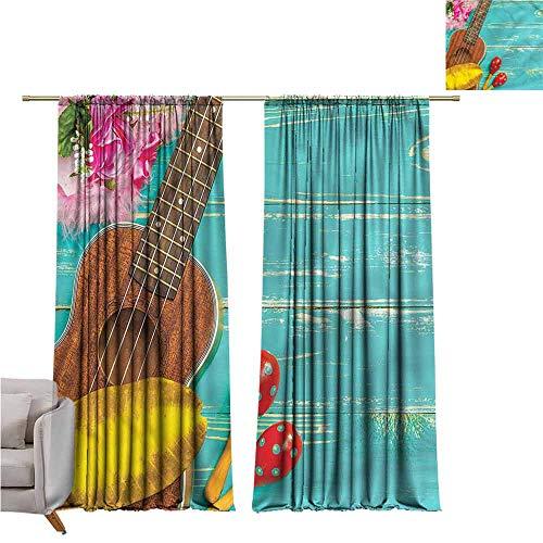 zojihouse MusicBedroom and Living Room Curtains Hawaiian Summer Ukulele W107xL82 (Sponge Bob Ukulele)