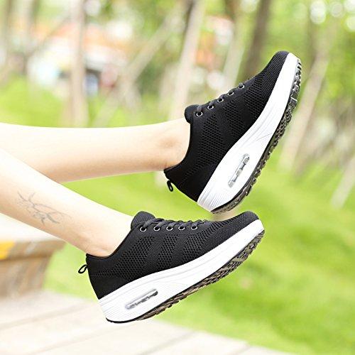 Turnschuhe schwarz Atmungsaktiv Wedges Plateau Sneaker Mesh Damen 35 Größe Frauen X 42 Leicht Outdoor Sportschuhe wqIZaUIx
