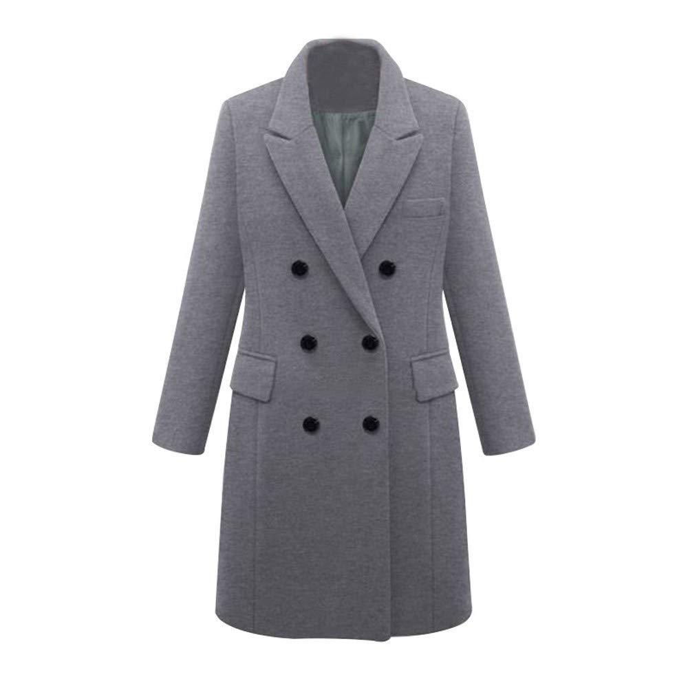 Womens Double Breasted Pea Coat Winter Lapel Wool Trench Jacket Slim Long Solid Parka Outwear Windbreak Plus Size Gray by sheart 9