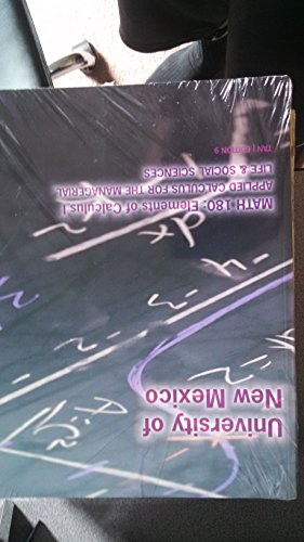 Unm Math 180 Applied Calculus for the Managerial, Life and Social Sciences