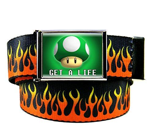 Get A Life Flip Top Men's Belt Buckle with Canvas Web Belt XX-Large Flames Print ()