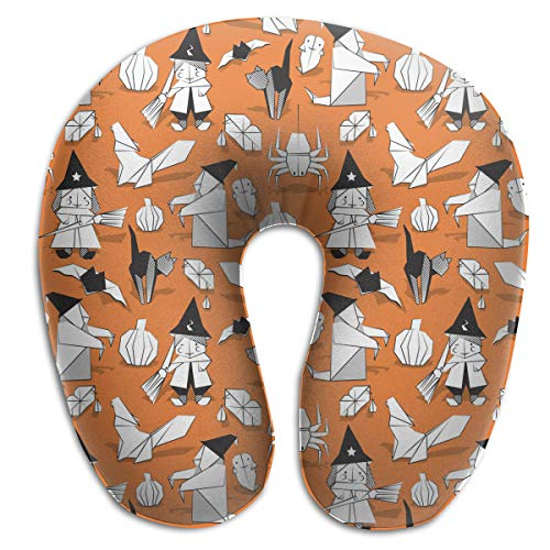 Juewu-474 Comfortable Memory Foam Travel Pillow, Halloween Witches Ghosts Pumpkins Spider Neck Pillow for Train, 360° Stable Neck -