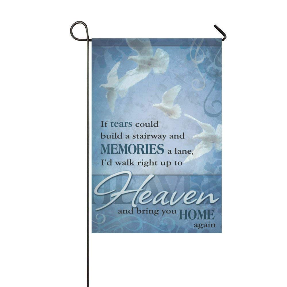 COCOBE Holiday Decor Outdoor House Flag- If Tears Heaven Bring You Home Again 12.5x18 Inch Double Sided Garden Flag