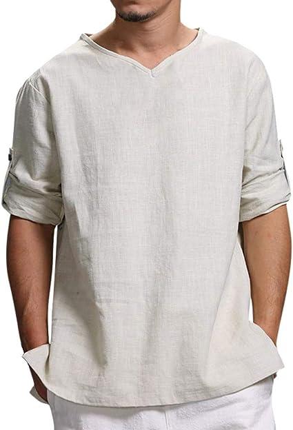 Camiseta para Hombre,Verano Algod/ón y Lino Manga Corta Color s/ólido Moda Casual Suelto T-Shirt Blusas Camisas Camiseta Cuello en v Suave b/ásica Camiseta Top vpass