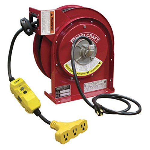 REELCRAFT 45 Ft. Power Cord Reel, GFCI Triple (Reelcraft Reel)