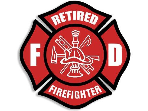 (American Vinyl Red RETIRED Firefighter Maltese Cross Shaped Sticker (fire fighter fireman))