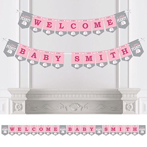 Big Dot of Happiness Personalized Pink Elephant - Custom Girl Baby Shower Bunting Banner & Decorations - Welcome Baby Custom Name Banner]()