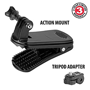 Action Camera Clip Mount by USA Gear with Durable Molded Plastic & J-Hook & Screw Adapter - Works with Ion , Drift , Garmin , GoPro , Sony , Contour , Veho & More Action Cameras from USA Gear