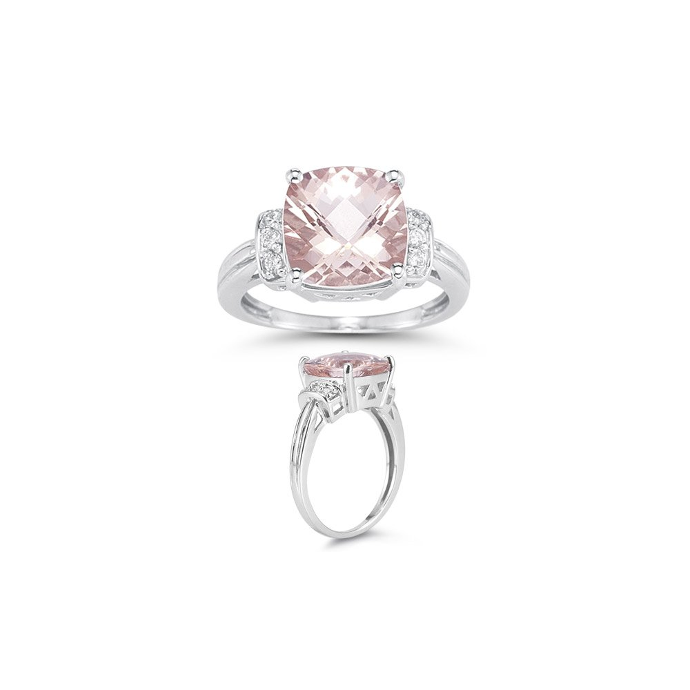 Holiday Deal On 0.09 Cts Diamond & 3.66 Cts of 10 mm AAA Morganite Ring in 14K White Gold-8.5
