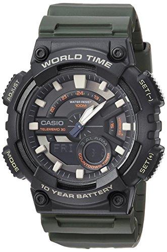 Casio Men's Telememo Quartz Watch with Resin Strap, Green, 24 (Model: AEQ-110W-3AVCF)