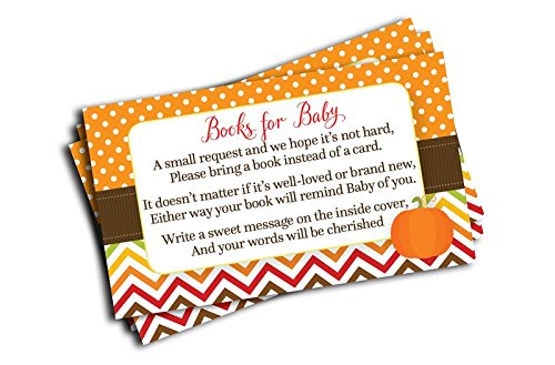 Pumpkin Baby Shower Book Insert Request Cards (50-Cards)