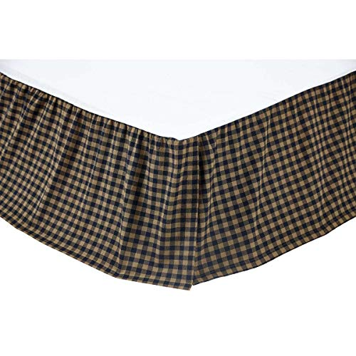 - VHC Brands 20257 Navy Check Queen Bed Skirt 60x80x16