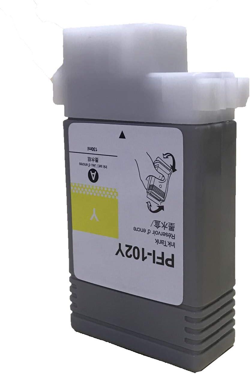 1-PK iPF710 iPF610 Compatible PFI-102 PFI-102Y Ink Cartridges Replacement for ImagePROGRAF iPF500 iPF600 KLDink iPF605 iPF700 iPF510 iPF720 Printers
