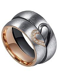 PAMTIER Men's Women's Stainless Steel 6mm Brushed Heart Diamond Inlay Couple Promise Wedding Band Set