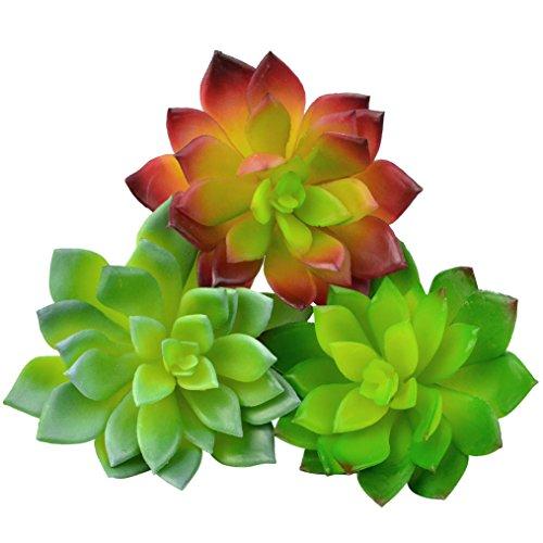 "Bantoye 3 Pcs Faux Echeveria Succulents 4"" x 4.4"" Assorted Succulent Picks for Wedding Bouquet Terrarium Decor, 3 Colors ( Green, Soft green & Plum green )"
