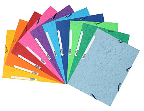 (Exacompta Pack of 10 Folders Cardboard 3 Flaps with Elastic Closure 24 x 32 cm Assorted Colours)