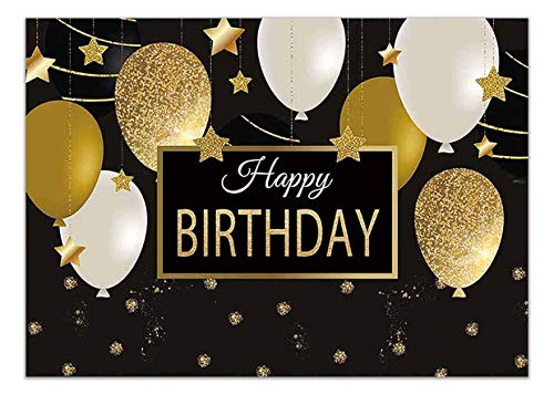 40th Birthday Backdrop (Allenjoy 7x5ft Happy 30th 40th 50th 60th Birthday Backdrop Black Gold Balloons Golden Glittering Sparkling Stars Men Women Bday Party Background Photo Studio Booth Kids Cake Table)