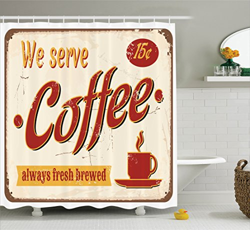 Ambesonne Retro Shower Curtain, Tin Rusty Faded Fresh Brewed Coffee Print from Old Days Fifties Style Art, Fabric Bathroom Decor Set with Hooks, 70 Inches, Cream Mustard Orange -
