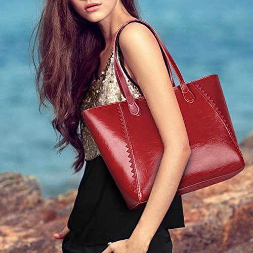 Wine Shopping Red Totes Wax Oil Leather Handbags Big Simple Shoulder Capacity Domybest Women U6ZTpqwP