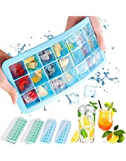 Ice Cube Tray with Lid 4 Pack, Easy Release ice Cube Trays Silicone, Make 24 ice Cubes Each, for Chilling Bourbon Whiskey, Cocktail, Beverages, Dishwasher Safe