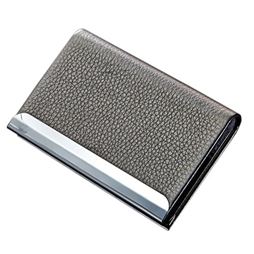(YINUOWEI Litchi Pattern PU Leather Alloy Small Business Card Holder Case ID Card/Credit Card Holder Pouch Metal Gift Card Holder Box, Holds Up To 25 ID Card, Magnetic Bifold Close, Grey)