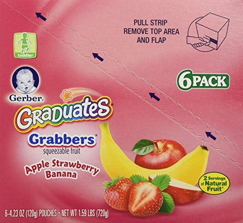 Gerber Graduates Grabbers, Apple Strawberry Banana, 4.23 Ounce (Pack of 6)