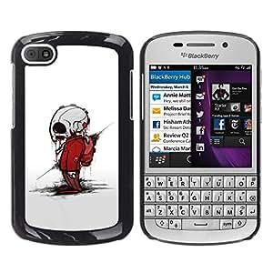 CASER CASES / BlackBerry Q10 / Zombie Skeleton / Delgado Negro Plástico caso cubierta Shell Armor Funda Case Cover