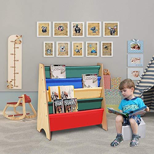 Yeshom Wood Kids Book Shelf Sling Storage Rack Organizer Bookcase Display Holder Natural