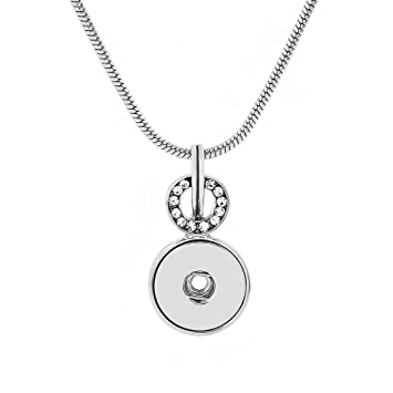 Lovmoment Pendant of Necklace with 45CM Chain Fit 18MM Snap Button Charms Jewelry