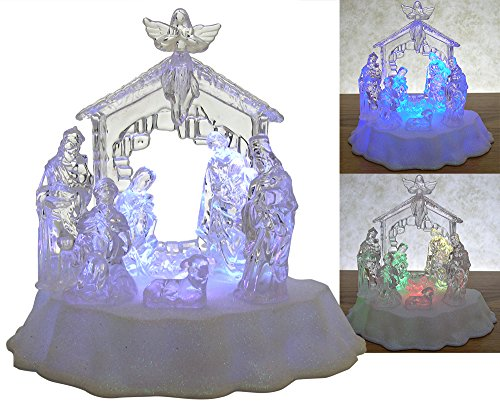 Lighted LED Nativity Scene Holy Family in Manger Christmas Table Top by Banberry Designs