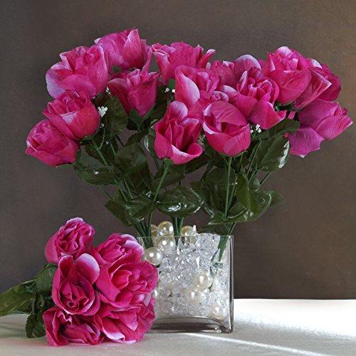 Efavormart 84 Artificial Buds Roses Wedding Flowers Bouquets SALE - Fuchsia