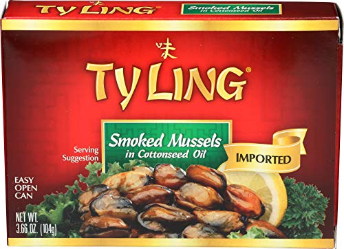 Ty Ling Smoked Mussels, 3.66-Ounce Cans (Pack of 10) ()