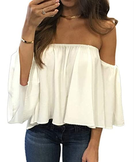 6a324f3b28e Image Unavailable. Image not available for. Color: Mesitelin Women Chiffon Off  Shoulder Blouse Top Shirt Short Sleeve Boho ...