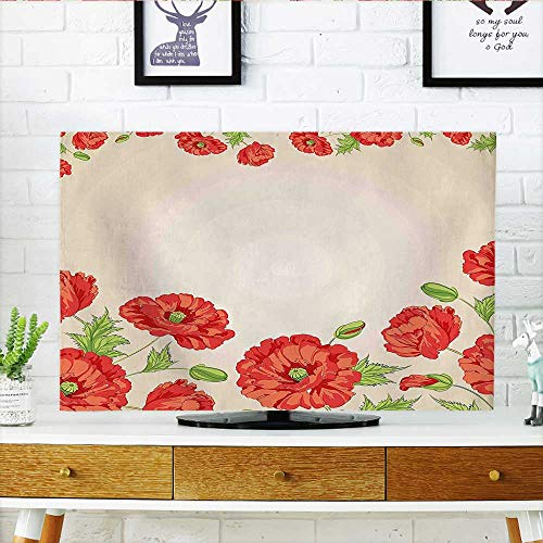 (Auraisehome Television Protector Illustration of a Card with Poppy Flowers Decorations for Home Pattern Red and Television Protector W32 x H51 INCH/TV 55