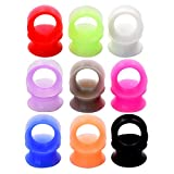Longbeauty 9 Pair 10MM Thin Silicone Ear Skin Flexible Flesh Tunnel Expander Gauge Earlets 9 Colors at the same size