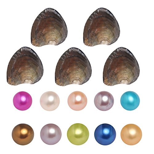 Fine Jewelry Grade Freshwater Cultured Love Wish Pearl Oyster AAAA Round Pearls Various 10 Random Colors, Birthday Gifts Pearl Party,Oysters with Pearls Inside (6-7mm, 10 PCs/lot)