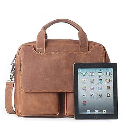 "hot sale 15.6"" Laptop Briefcase, LeatherFocus Vintage Durable Waterproof Multi-functional Genuine Leather Messenger Bag for Men"