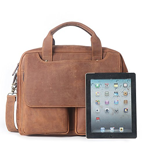 LeatherFocus 15.6'' Laptop Briefcase, Vintage Durable Waterproof Multi-functional Genuine Leather Messenger Bag for Men by LeatherFocus
