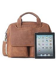 15.6 Laptop Briefcase, LeatherFocus Vintage Durable Waterproof Multi-functional Genuine Leather Messenger Bag...