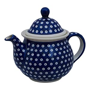 Polish Pottery Boleslawiec Big Teapot, 1.7L in TADPOLE pattern