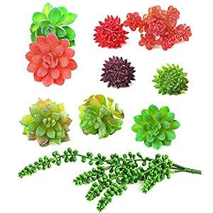 AHUA 10PCS Artificial Succulents Mini Plants Unpotted Faux Simulation Cactus Fake Plants Flowers for DIY Home Office Garden Decor Gift Wedding Centerpieces 87