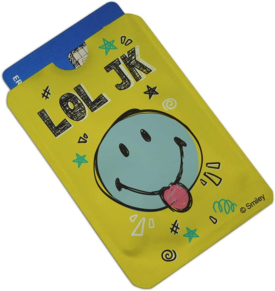 LOL JK Smiley Face Tongue Just Kidding Laugh Out Loud Officially Licensed Credit Card RFID Blocker Holder Protector Wallet Purse Sleeves Set of 4
