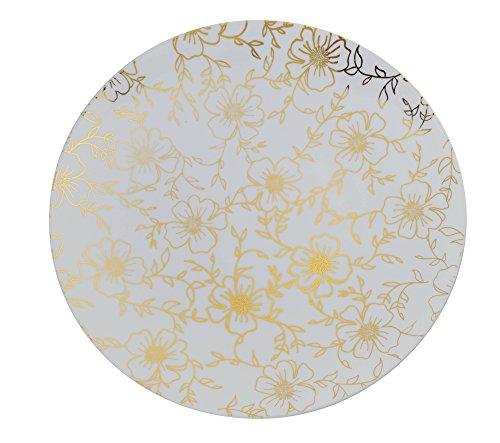 Trendables Premium 8 Inch. Disposable Plastic Plates, Food Grade Plastic Salad/Dessert Plates - Versa Design - 40 Pack