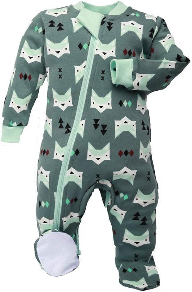 zippyjamz Organic Baby Footed Sleeperパジャマ股下ファスナー付きforすばやく簡単なおむつ変更~静かフォックスグリーン